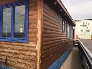 Casa de madera oficina antes de pintar